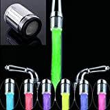 Olens No battery Automatic Pressure Sensor 7 Color Glow Shower LED Light Water Faucet Tap Stream Glow Kitchen Bathroom (One Piece Multicolor)