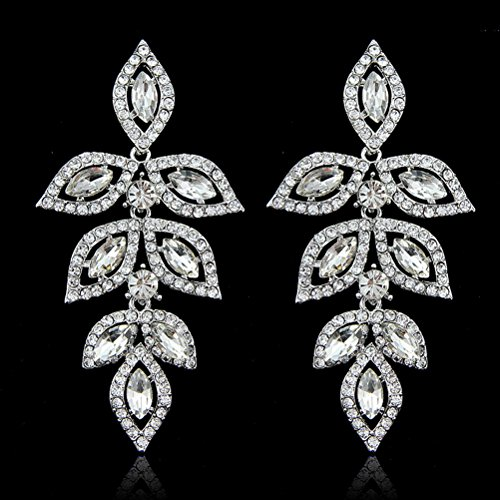Diamond Earrings Leaf Cut - Superhai Starry White Diamond Drop Earrings Long Leaf Earrings