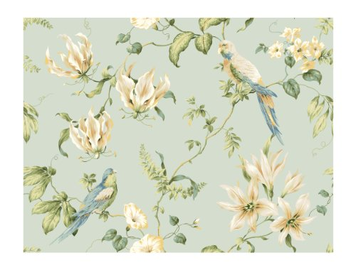York Wallcoverings Casabella JG0752 Tropical Floral Wallpaper, Light Blue - Ultra Removable