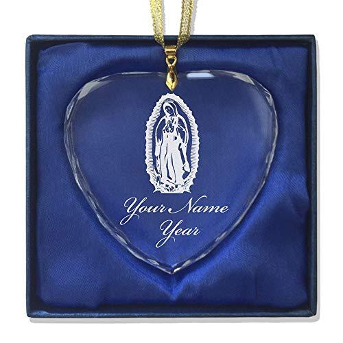 SkunkWerkz Christmas Ornament, Virgen de Guadalupe, Personalized Engraving Included (Heart Shape) by SkunkWerkz