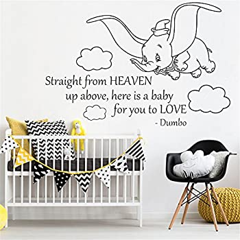 amazon com dumbo elephant wall vinyl decal disney cartoon flyingwall sticker quote dumbo quote wall stickers straight from heaven art vinyl sticker home room kids bedroom decor nursery poster cute elephant
