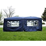 Outsunny 6m x 3m Garden Heavy Duty Water Resistant Pop Up Gazebo Marquee Party Tent Wedding Canopy Awning (Blue) With free Storage Bag