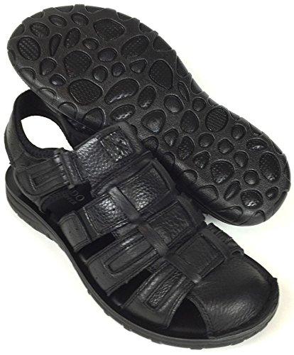 Labo Menns Ekte Skinn Sandaler Sko Ultra Komfort Myk Bredt Black6
