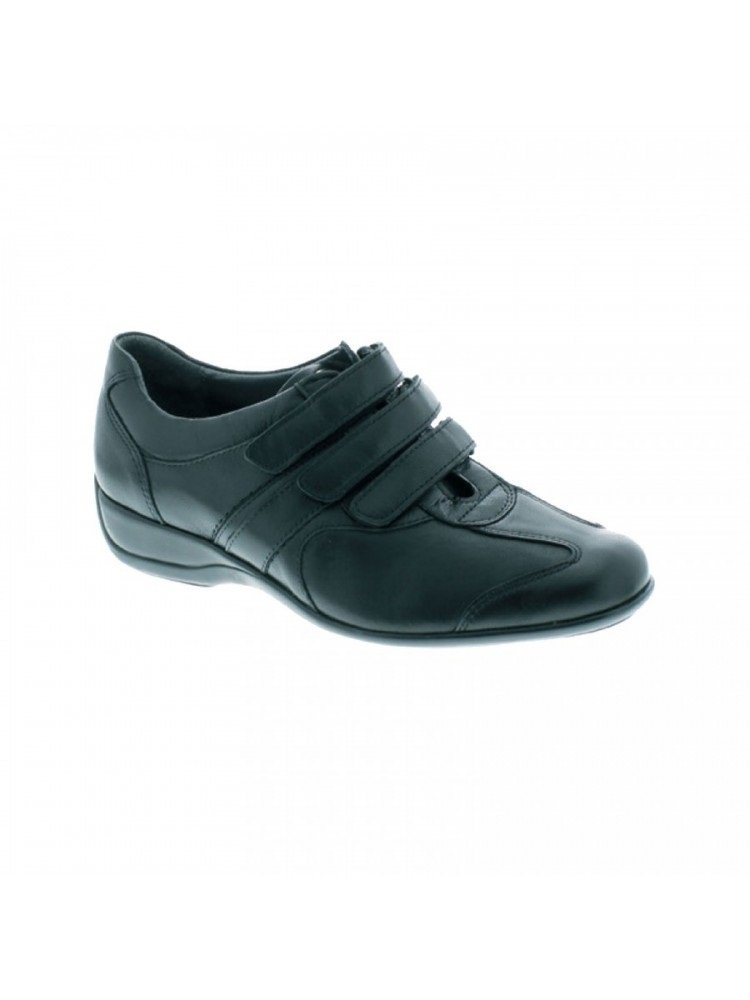 Xsensible Womens Love Velcro Black Stretchable Leather Comfort Walking Oxford Shoe, 37 H, 6.5 7 Wide
