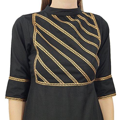 Set amp; Beige Atasi Straight Suit Baumwolle Readymade Frauen Indischen Schwarz Freizeitkleidung qBIwFS