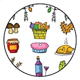 Round Carpet pad Doodle of Food and Element Thanksgiving Rug D3'/0.9m
