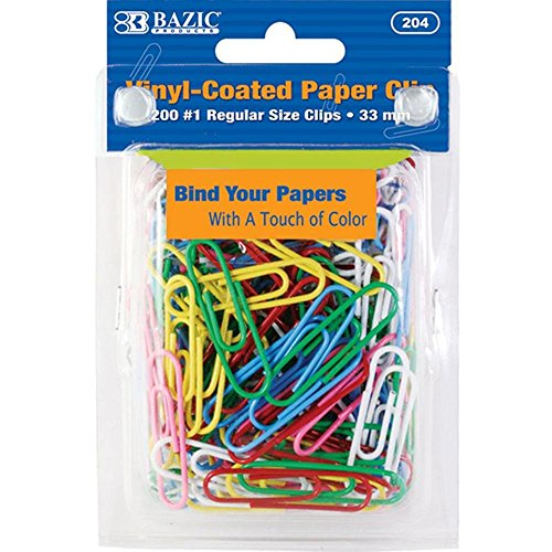 2 Pk, Bazic Vinyl-Coated #1 Regular Assorted Paper Clips, 33mm, 200 Per (2 Vinyl Paper Clip)