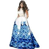 Nena Fashion Women's Satin Silk Semi-stitched Lehenga Choli (Blue and White_Free Size)