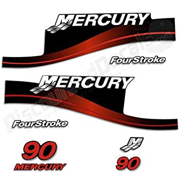 Mercury outboard 90hp decal kit fourstroke decals stickers 90 hp 4 stroke red