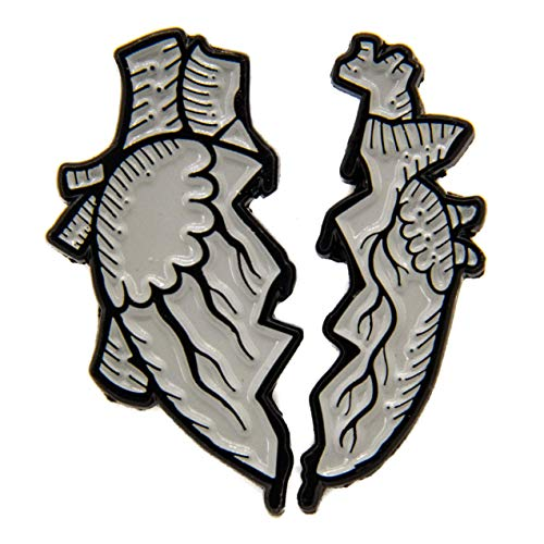 Ectogasm 100108 Broken Anatomical Heart Enamel Pin Set of 2 for Halloween