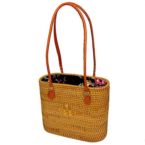 Oval Rattan Handbags Women Straw Top Handle Bag Travel Tote Bag(7.8