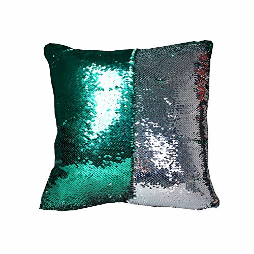 Silver Double Cushion (Xtextile 16 x 16 inch Double Colors Reversible Sequin Mermaid Pillow Cover, Glitter Sofa Cushion Case (Green&Silver))