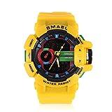 Brino Sport Watch, SMAEL Multi-Functional Analog Digital Outdoor Sport Watch LED Electronic Wristwatch (Yellow)