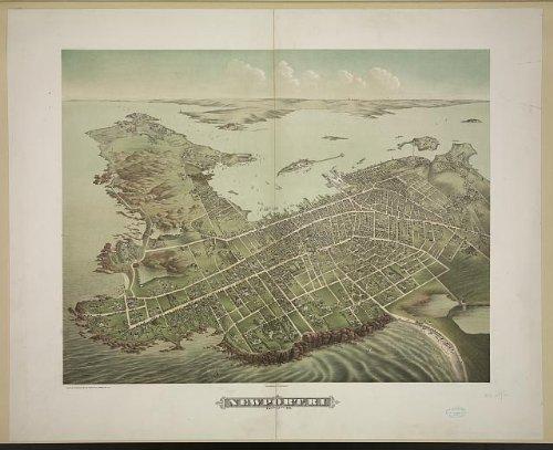 Photo: Newport,Aquidneck Island,Rhode Island,RI,1878,Map,Roads are Labeled