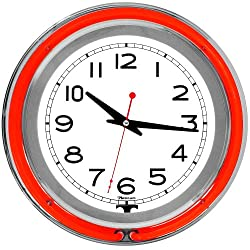 Trademark Gameroom Red Chrome Double Ring Neon Clock, 14
