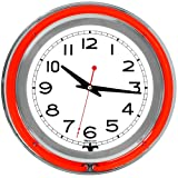Lavish Home Retro Neon Wall Clock - Battery Operated Wall Clock Vintage Bar Garage Kitchen Game Room - 14 Inch Round Analog (Red and White)