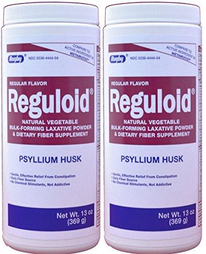 Bulk Forming Laxatives - Reguloid Psyllium Husk Natural Vegetable Bulk Forming Laxative Fiber Supplement Powder Generic for Metamucil 13 oz. per Bottle Pack of 2