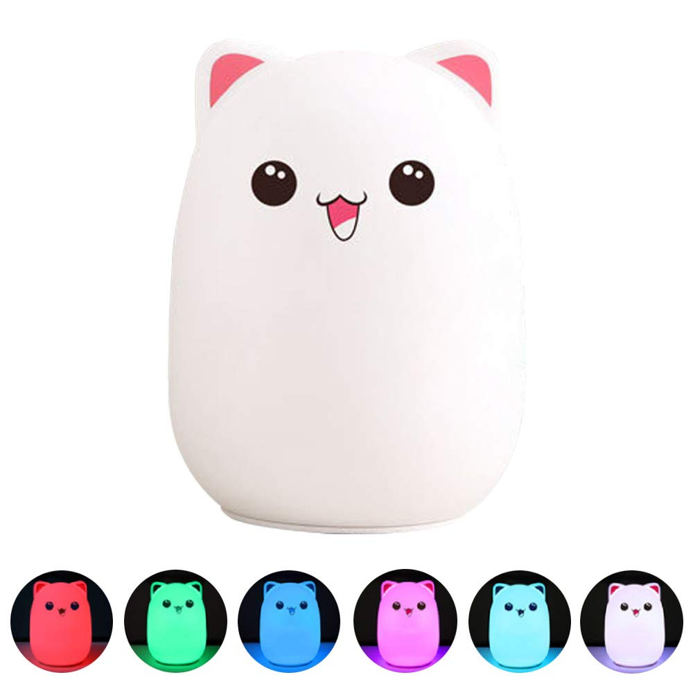 Cute Night Light for Kids, LED Rechargeable Bear Desk Lamp with Tap Control, 7-Colour Flashing 1W Warm Light for Baby Home Room Bedroom Decoration Best Gift for Girls Women