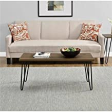 """Mainstays Walnut Clean Industrial Appearance Slim Retro Coffee Table Designed To Fit Into Compact Spaces With Ease, Able to Hold Up to 40 lbs Measuring 17.85""""H x 42""""W x 19.5""""D"""