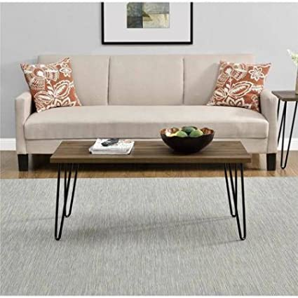 Mainstays Walnut Clean Industrial Appearance Slim Retro Coffee Table  Designed To Fit Into Compact Spaces With