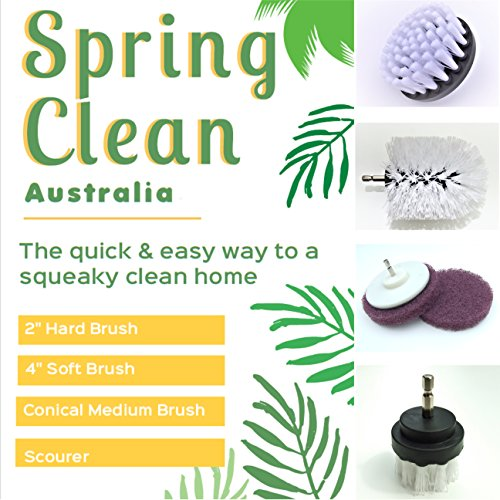5 Piece - Drill Brush Attachment Kit - All Purpose Household Cleaning - Bathroom - Carpets - Kitchen - Automotive - Boats