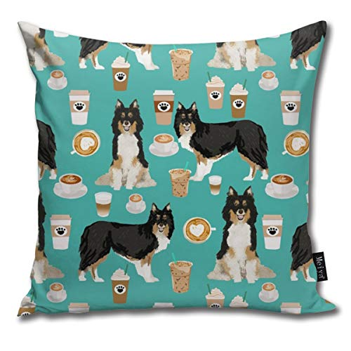 shirt home Sheltie Shetland Sheepdog Coffee Dog Turquoise Comfortable Soft Bed Pillow Case Household Pillow Case Office Bolster 18x18 Inches