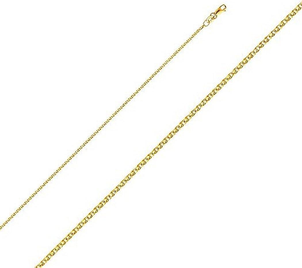 Jawa Fashion 14k Mens Womens Yellow Gold 1.4mm Open Wheat Chain Necklace