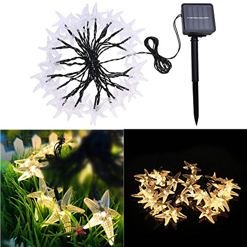 String Wire Cross (Waterproof Solar Powered 30 LED Fairy String Lights, Starfish Shaped Indoor & Outdoor Decorative Christmas Lighting Used for Party Wedding Home Garden New Year Decorations by elecfan - Warm White)