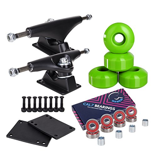 Cal 7 Skateboard Package Combo with 5 Inch / 129 Millimeter Trucks, 52mm 99A Wheels, Complete Set of Bearings and Steel Hardware (Black Truck + Green Wheels)