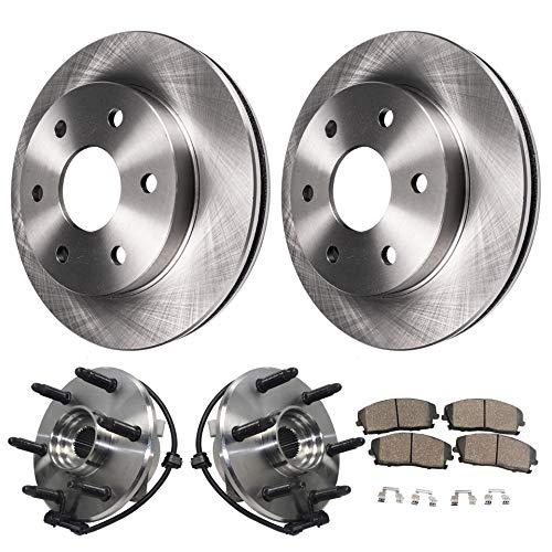 Detroit Axle - Both Front Wheel Hub Bearing Assembly w/ABS, Front Brake Rotors w/Ceramic Pads for Cadillac Escalade Chevy Avalanche Express Silverado Tahoe Suburban GMC Savana Sierra Yukon XL 1500