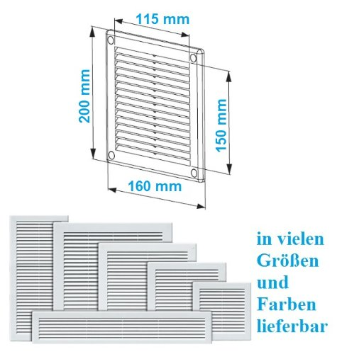 Beliebt Lüftungsgitter 15 x 20 cm Abschlussgitter Insektenschutz 150 x 200 XJ53
