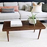 Nathan James 31701 Clyde Boho Slatted Coffee Table Mission-Style Bench for a Unique and Modern Living Room Solid Wood, Rustic Brown