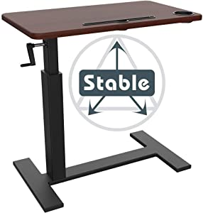 Balee Crank Overbed Table Adjustable Height Desk Rolling Over Bed Bedside Table with Wheels Sit-Stand Laptop Desk Non-Tilt Table Desk for Home and Office Use