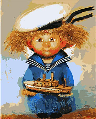 (kkxka Frameless Painting by Numbers DIY Naval Costume Scarecrow Coloring by Numbers Digital Painting Home Decor Handpainted Paint)