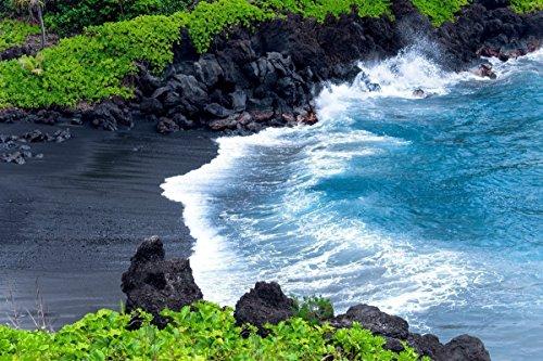 - Black Sand Beach, Coastal Ocean Picture, Hawaiian Art Decor