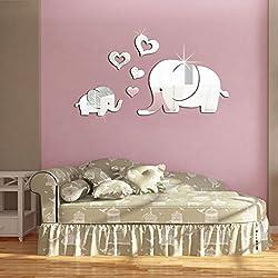Wrisky 3D Mirror Love Elephant Vinyl Removable Wall Decal Sticker Home Decoration DIY