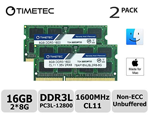 Timetec Hynix IC Apple Compatible 16GB Kit (2x8GB) DDR3L 1600MHz PC3L-12800 SODIMM Memory Upgrade For MacBook Pro13-inch/15-inch Mid 2012, iMac 21.5-inch Late 2012/ Early/Late 2013, 27-inch Late 2012/2013, Retina 5K - Memory Sodimm Dimm