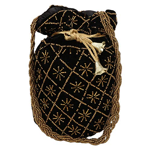 Satin Bridal Handbag - oIndian Potli Bag for Wedding, Designer Bridal Clutch/Jewelry Pouch/Worship Potli Bag for Girls & Women (Black)