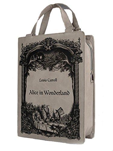 Restyle - grau Buch Tasche - Alice im Wunderland - grau