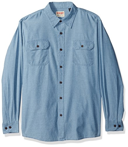 Wrangler Authentics Men's Authentics Long Sleeve Classic Woven Shirt, light chambray, XL ()
