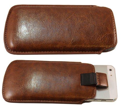 smartec24® Zipout Handytasche für iPhone 5 / 5S / 5C inkl. 1x Frontschutzfolie. Stabile Tasche mit Zipfunktion für eine sichere Handhabung. (braun)
