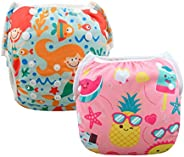 ALVABABY Swim Diapers Reuseable Washable Adjustable 0-36 mo.Boy Girl 2 Pack One Size Swimming Lesson SWD37-39-