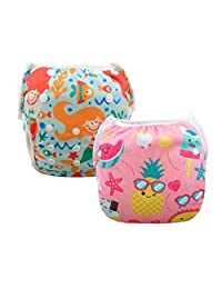 ALVABABY Swim Diapers Reuseable Washable Adjustable 0-36 mo.Boy Girl 2 Pack One Size Swimming Lesson SWD37-39-CA