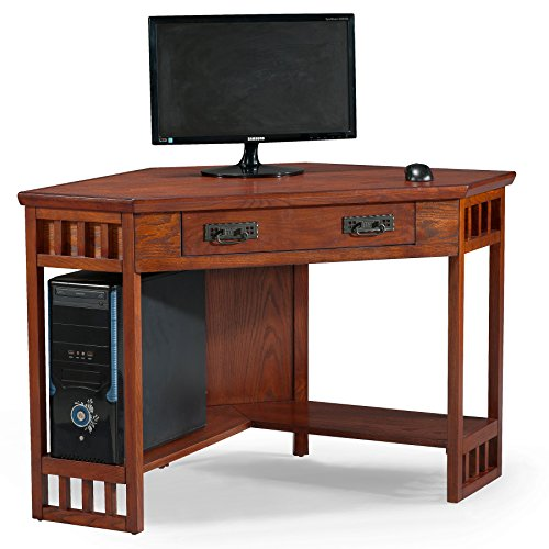 Leick Corner Computer and Writing Desk, Mission Oak Finish (Solid Oak Table)
