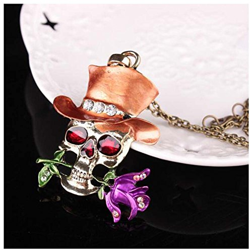 [GERGER BO Halloween Skull Exaggerated Female Roses Pendant Necklace (Orange)] (Halloween Costume Ball Nyc)