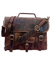 Handolederco. Vintage Leather Laptop Bag 15 Messenger Handmade Briefcase Crossbody Shoulder Bag School Bag