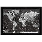 Detailed World Map Push Pin Map On Canvas World Travel Map Art ...