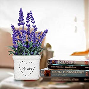 Potted Lavender Flowers -Small Artificial Purple Plant - Cute Flower with White Ceramic Vase for Home, Party & Wedding Décor 2