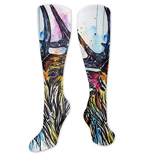 Compression Socks Colorful Stag Cried Soccer Sports Knee High Tube Socks For Women And Men ()