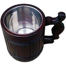 Handmade Beer Mug Oak Wood Stainless Steel Cup Carved Natural Beer Stein Old-Fashioned Brown - Wood Carving Beer Mug of Wood Great Beer Gift Ideas Wooden Beer Tankard for Men Capacity: 20oz (600ml)